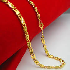 gold chain necklace long images Wholesale gold necklace does not fade 18k gold plated male and jpg