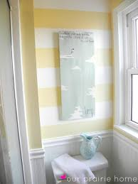 Bathroom Accents Ideas by Our Prairie Home Downstairs Bathroom A Reveal Striped Accent