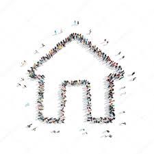 people shape house cartoon u2014 stock photo tai11 82029406