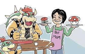 Super Mom Meme - mama miyamoto bringing home dinner for the family super mario