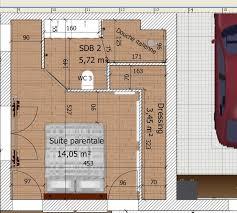 plan chambre avec dressing et salle de bain suite parentale dans moins de 15m2 idée chambre