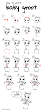 how to draw baby groot easy drawing step by step perfect for