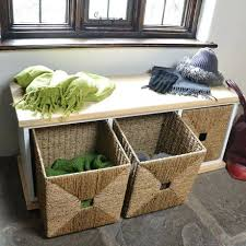 off white storage bench with baskets entryway storage bench with