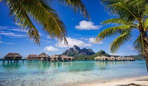 wallpapers bora bora french polynesia bungalow sea nature palms