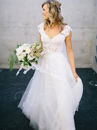 v neck lace tulle cap sleeve a line wedding dress tbdress com