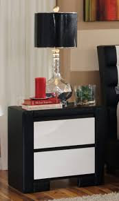 Black Wood Nightstand Black Wooden Nightstand With Two White Wooden Drawers On Brown