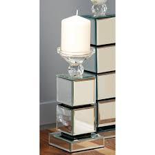stacked cubes crystal table l 31 in arabesque mirror floor candle holder k 4278fl the home depot