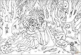 wedding on halloween coloring page free printable coloring pages