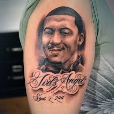 memorial portrait tattoo on arm for men in 2017 real photo