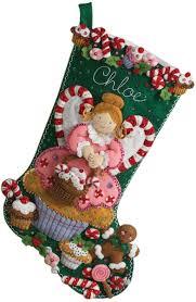amazon com bucilla 18 inch christmas stocking felt applique kit