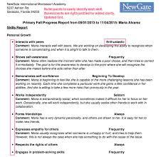 kindergarten progress report template blog page 2 montessori compass update display options make progress reports even more flexible