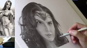 live stream wonder woman gal gadot portrait pencil drawing