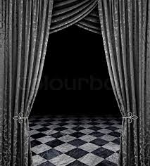 Silver Black Curtains Silver Curtains Reveal Open Stage With Checkered Marble Floor