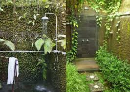 ravishing outdoor bathroom with bamboo plant and mosaic wall