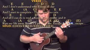 Blind Chords No Rain Blind Melon Ukulele Cover Lesson With Chords Lyrics