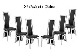 6 Black Dining Chairs Modernique X6 Black Dining Chairs In Faux Leather Foam Padded And