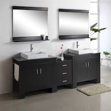 black rectangle wall mirror frames over glass bowl double sinks