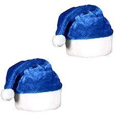 blue santa hat 2 pack blue plush christmas santa hats