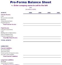 Pro Forma Financial Statements Excel Template Pro Forma Balance Sheet Template Accounting Forms