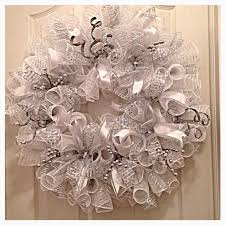 silver and white deco mesh wreath wedding by ckdazzlingdesign