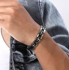 mens black steel bracelet images Contrast black white cross titanium steel bracelets for men jpg