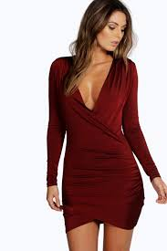 boo hoo clothing eli slinky drape front sleeve bodycon dress boohoo