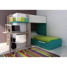 bureau superposé lits superposés samuel 2x90x190cm bureau intégré pin blanc et