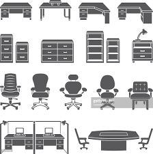 White Office Furniture Office Furniture Black White Royalty Free Vector Icon Set Vector