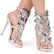 sale golden metal wings leaf strappy dress sandals silver gold