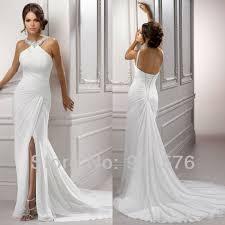 halter neck wedding dresses goddness ruched white halter neck pleated halter front slit court