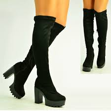 womens boots uk size 2 womens black suede knee boots cleated platform shoes size uk 3 8