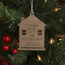our first home ornament with last name and address made from