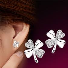 back earrings yiting 1pair trendy lucky clover silver plated back