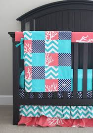 baby crib bedding set navy blue coral teal nursery