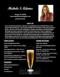 Bar Tender Resume Michele Adams Bartending Resume Page