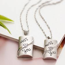 miss you couples 925 sterling silver necklaces pendants matching