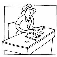 writing at desk coloring sheet