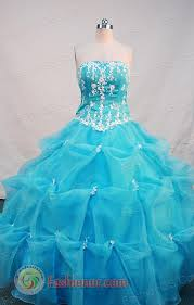 beautiful ball gown strapless floor length aqua blue quinceanera