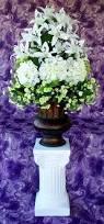 3 vases centerpieces wedding centerpieces white silk flowers altar decorations