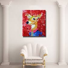 online shop pretty deer image painting wall art home decoration