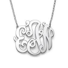 Silver Monogram Necklace Sterling Silver Monogram Necklaces Monogram Jewelry Be Monogrammed