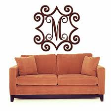 wrought iron inspired wall art with monogram initial indoor or