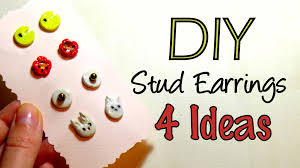 diy air drying clay stud earrings cute christmas gift idea 2015