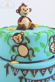 monkeys u0026 bananas baby shower themed cake cakecentral com