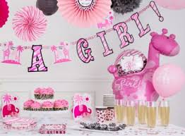 baby shower ideas pink printed banner and flower paper
