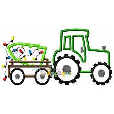 christmas applique tractor trailer with christmas tree appliqué design
