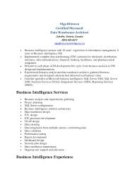 Data Architect Sample Resume by Olga Klimova Data Warehouse Resume