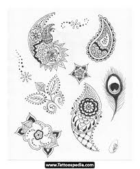 traditional henna leaves and wings feathers tattoo design sketches