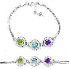 silver bracelet with stones images Natural green peridot amethyst topaz 925 sterling silver bracelet JPG