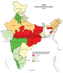 India Population Map by State Wise Internet Users In India Census 2011